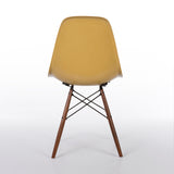 Back view of Light Ochre Herman Miller Vintage Original Eames DSW Side Shell Chair
