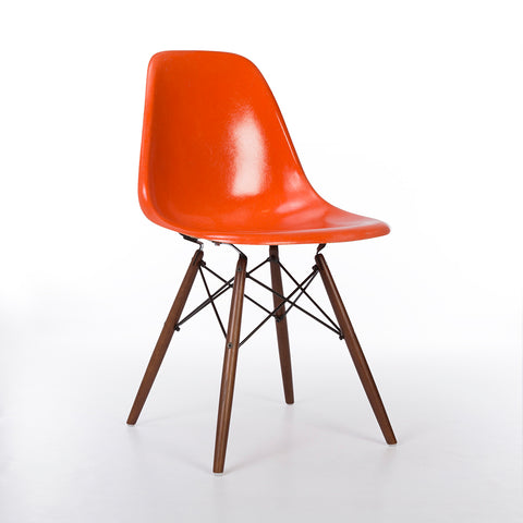 Orange Herman Miller Original Vintage Eames DSW Side Shell Chair