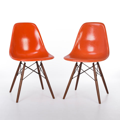 Orange Pair (2) Herman Miller Original Vintage Eames DSW Side Shell Chairs