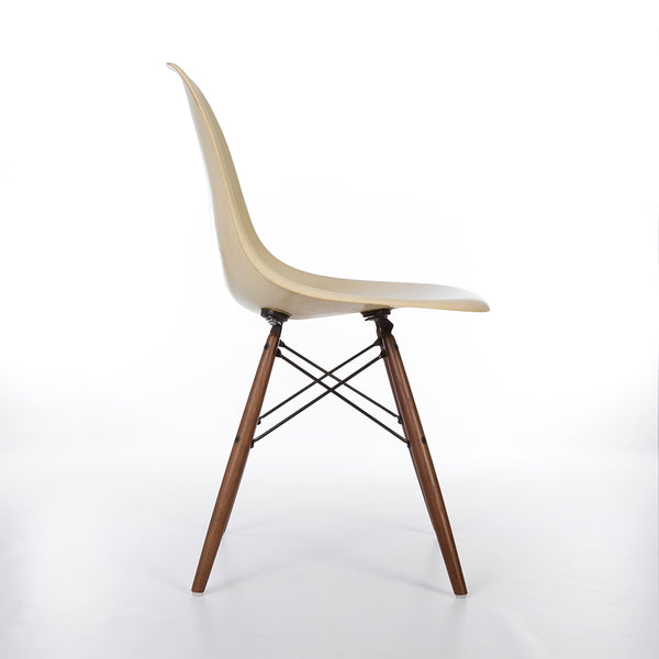 Right side image of Parchment Eames DSW Dining Side Chair