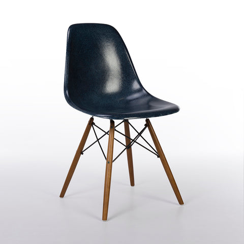 Navy Blue Herman Miller Original Eames DSW Side Shell Chair