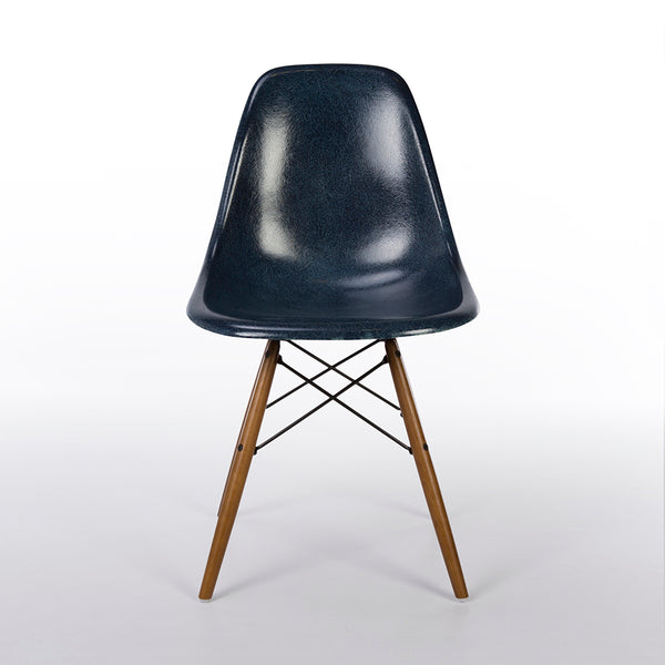 Front view of Navy Blue Herman Miller Original Eames DSW Side Shell Chair