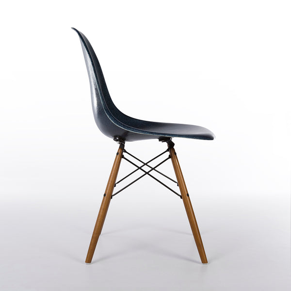 Side view of Navy Blue Herman Miller Original Eames DSW Side Shell Chair