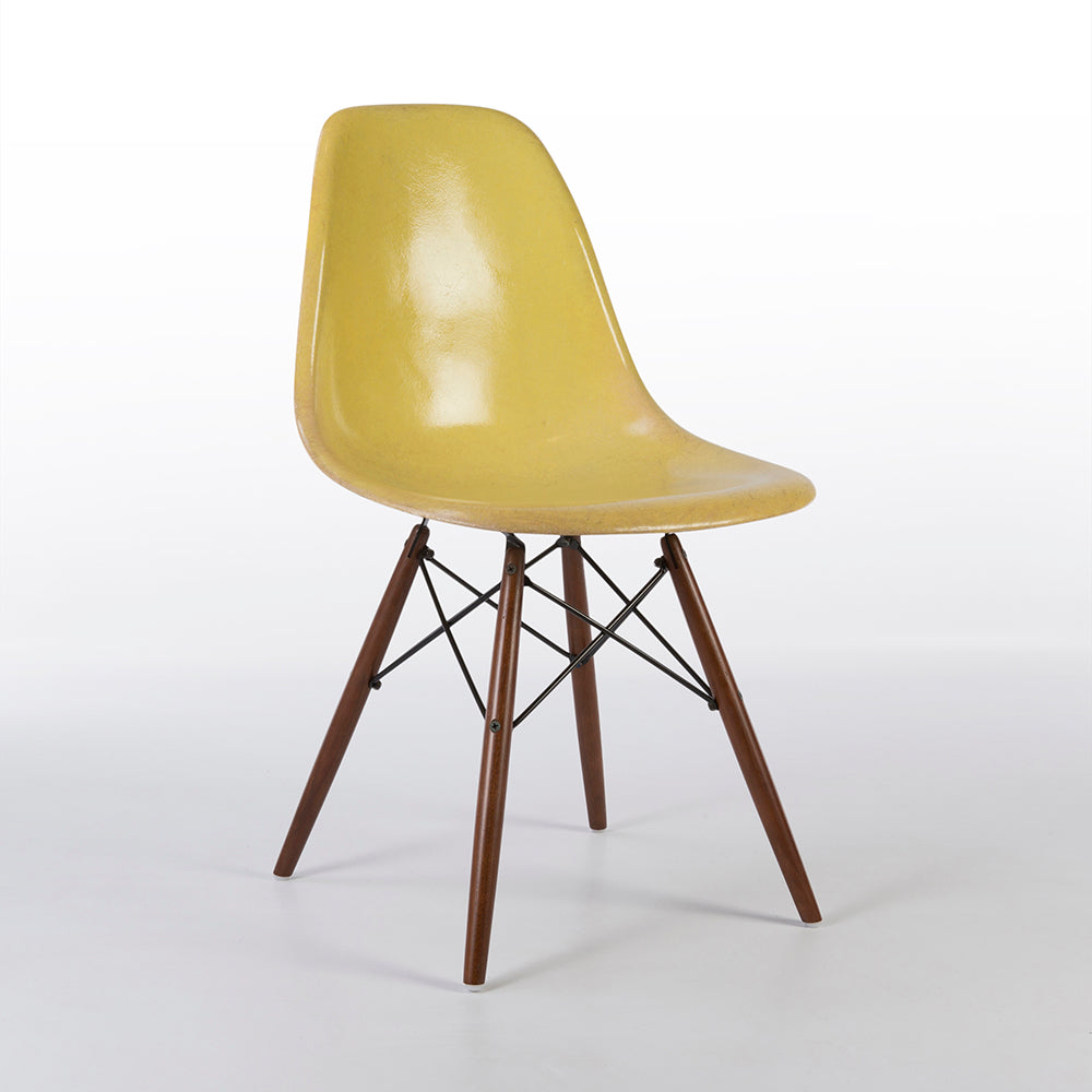 Front side view of Lemon Yellow Herman Miller Original Eames DSW Side Shell Chair