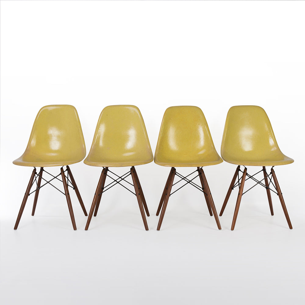Front view of Lemon Yellow Set (4) Herman Miller Original Eames DSW Side Shell Chair