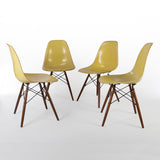 front side view of Lemon Yellow Set (4) Herman Miller Original Eames DSW Side Shell Chair