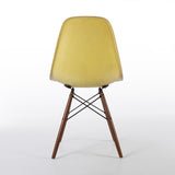 back view of Lemon Yellow Pair Herman Miller Original Eames DSW Side Shell Chair