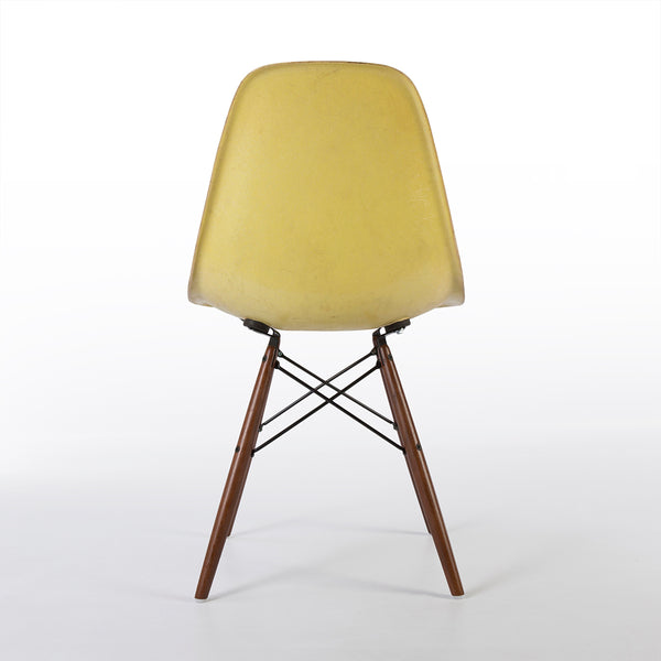 Back view of Lemon Yellow Herman Miller Original Eames DSW Side Shell Chair