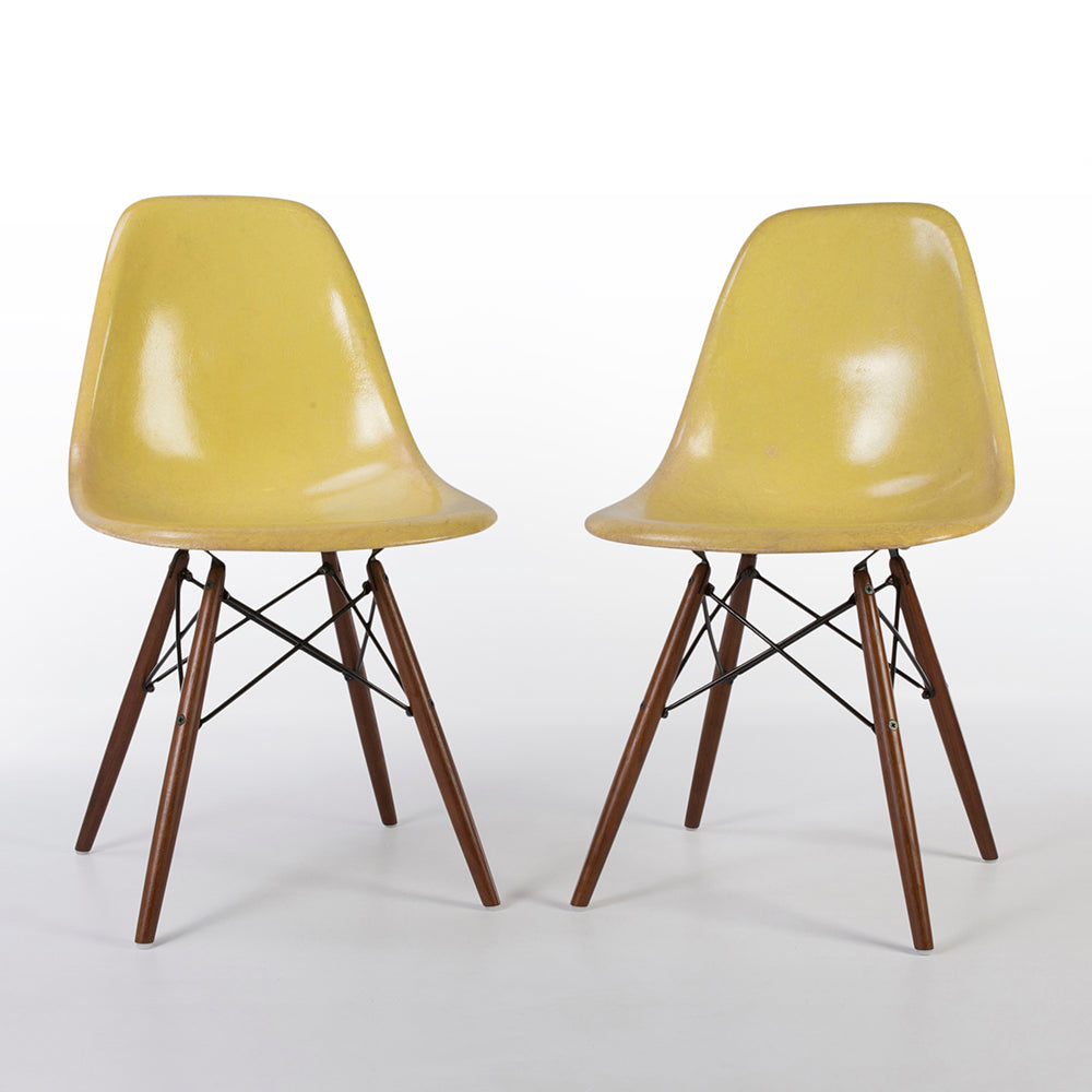 Front view of Lemon Yellow Pair Herman Miller Original Eames DSW Side Shell Chair