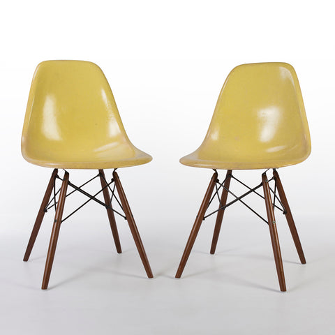 Lemon Yellow Pair Herman Miller Original Eames DSW Side Shell Chair
