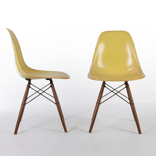 Front side view of Lemon Yellow Pair Herman Miller Original Eames DSW Side Shell Chair