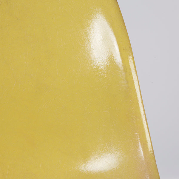 Closed up view of Lemon Yellow Set (4) Herman Miller Original Eames DSW Side Shell Chair