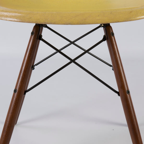Closed up view of Lemon Yellow Pair Herman Miller Original Eames DSW Side Shell Chair