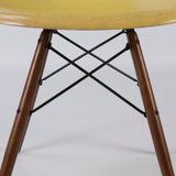 Close up view of Lemon Yellow Set (4) Herman Miller Original Eames DSW Side Shell Chair