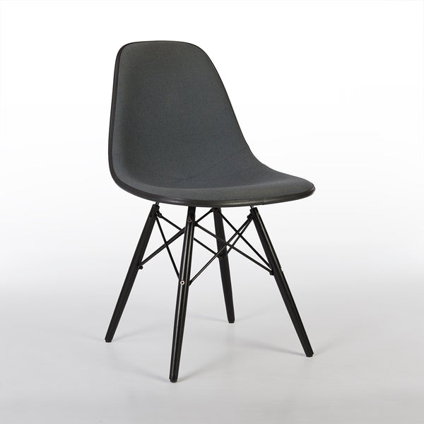 Front angled view of grey on black upholstered Eames DSW chair