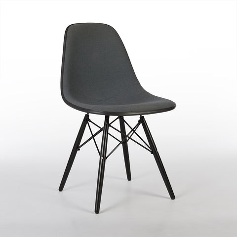 Grey Herman Miller Original Eames Upholstered Black DSW Side Shell Chair