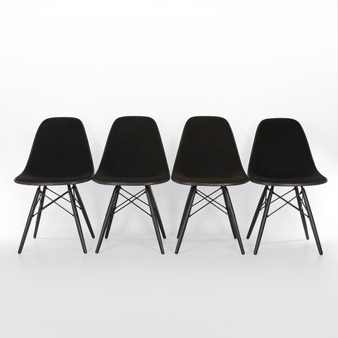 Black Set (4) Herman Miller Original Eames Upholstered White DSW Side Shell Chairs