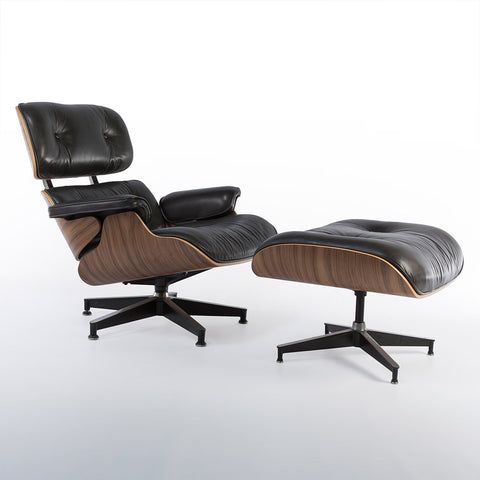Special Edition Herman Miller Original Eames Walnut Lounge Chair With Ambassador Black Leather