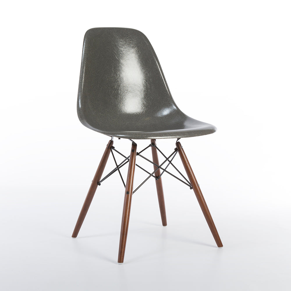 elephant grey herman miller vintage eames dsw side shell chair eames chairs authentic original. Black Bedroom Furniture Sets. Home Design Ideas