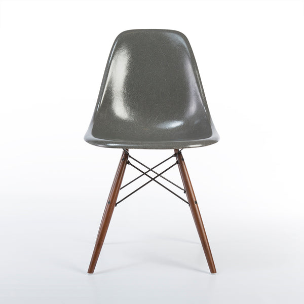front view of Elephant Grey Herman Miller Original Vintage Eames DSW Dining Chair