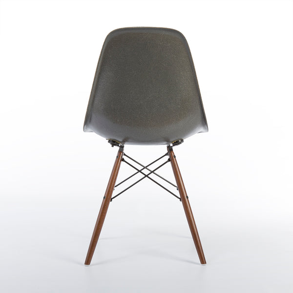 back view of Elephant Grey Pair Herman Miller Original Vintage Eames DSW Dining Chair