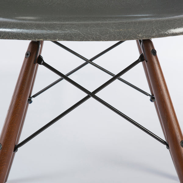closed up view if Elephant Grey Pair Herman Miller Original Vintage Eames DSW Dining Chair