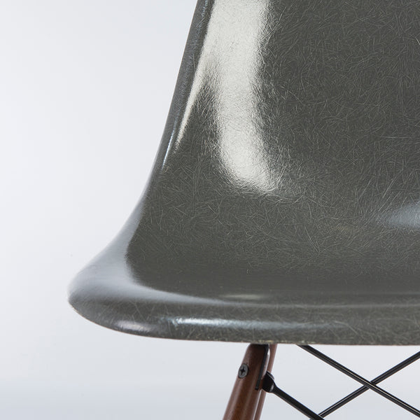 closed up view of Elephant Grey Pair Herman Miller Original Vintage Eames DSW Dining Chair