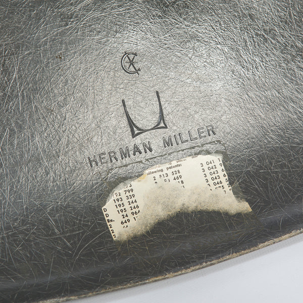 logo view of Elephant Grey Set (4) Herman Miller Original Vintage Eames DSW Dining Chair