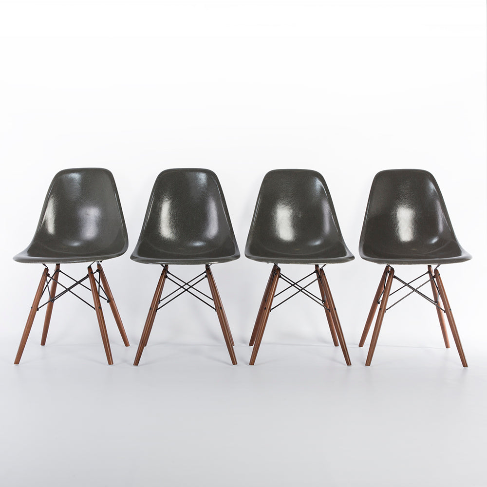 front view of Elephant Grey Set (4) Herman Miller Original Vintage Eames DSW Dining Chair