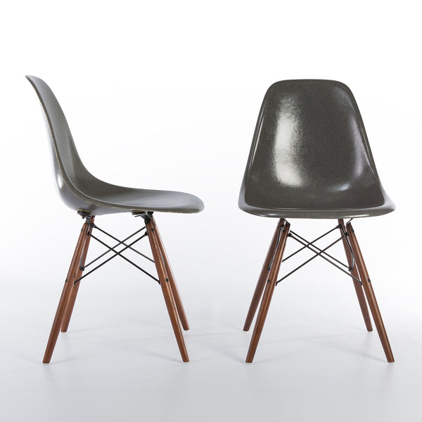 Front and side view of Pair of Elephant Grey Herman Miller Eames DSW Side Shell Chair