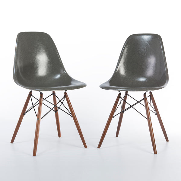 front view of Elephant Grey Pair Herman Miller Original Vintage Eames DSW Dining Chair