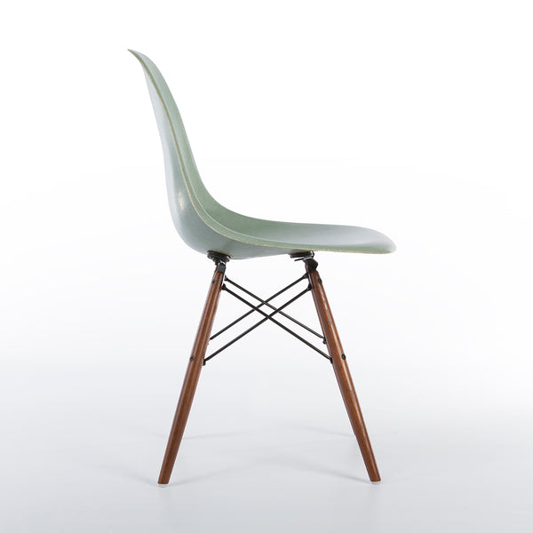 Side view of Seafoam Herman Miller Vintage Eames DSW Side Shell Chair