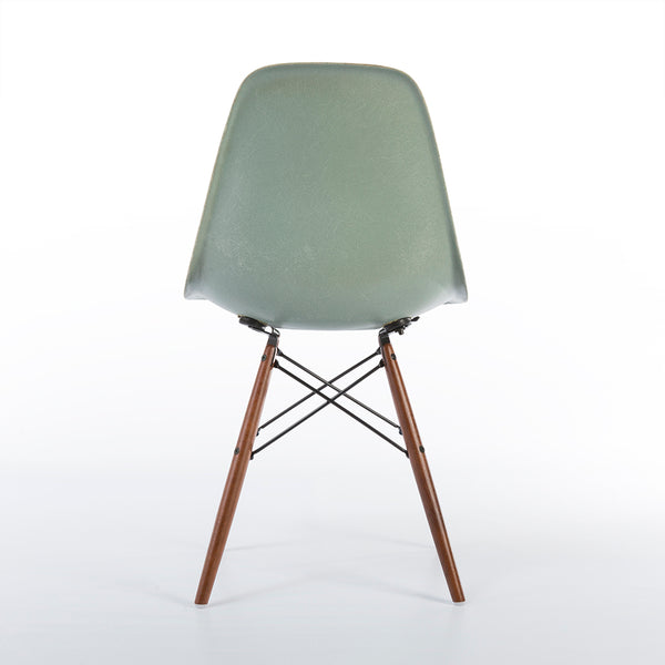 Back view of Seafoam Herman Miller Vintage Eames DSW Side Shell Chair