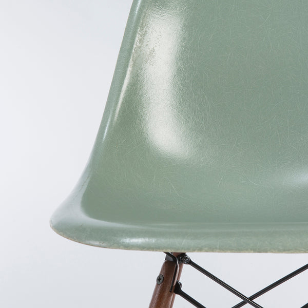 Closed up view of Seafoam Herman Miller Vintage Eames DSW Side Shell Chair