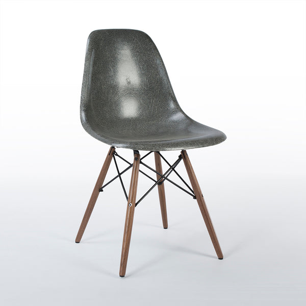 Front view of Elephant Grey Herman Miller Original Eames DSW Dining Side Shell Chair