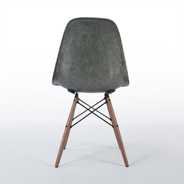 back view of Elephant Grey Herman Miller Original Eames DSW Dining Side Shell Chair