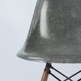 closed up view of Elephant Grey Herman Miller Original Eames DSW Dining Side Shell Chair