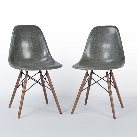 Elephant Grey Pair Herman Miller Original Eames DSW Dining Side Shell Chair