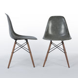 Front view of Elephant Grey Pair Herman Miller Original Eames DSW Dining Side Shell Chair