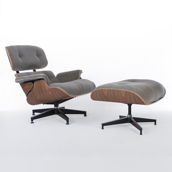 Grey Mohair & Walnut Herman Miller Eames Lounge Chair & Ottoman