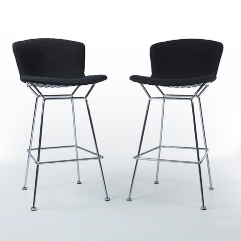 Steel Pair (2) Knoll Vintage Harry Bertoia Black Cushion 428 Wire Barstool