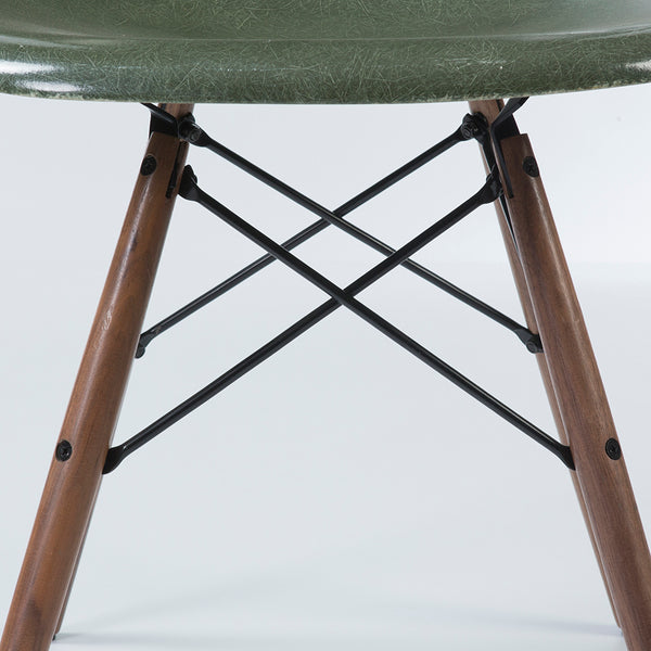 closed up view of Olive Green Herman Miller Vintage Original Eames DSW Side Shell Chair