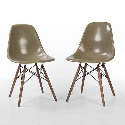 Raw Umber Pair (2) Herman Miller Vintage Original Eames DSW Side Shell Chairs
