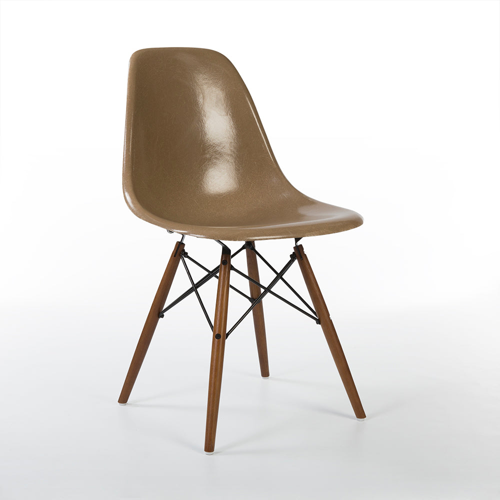 front view of Tan Herman Miller Original Eames DSW Dining Side Shell Chair