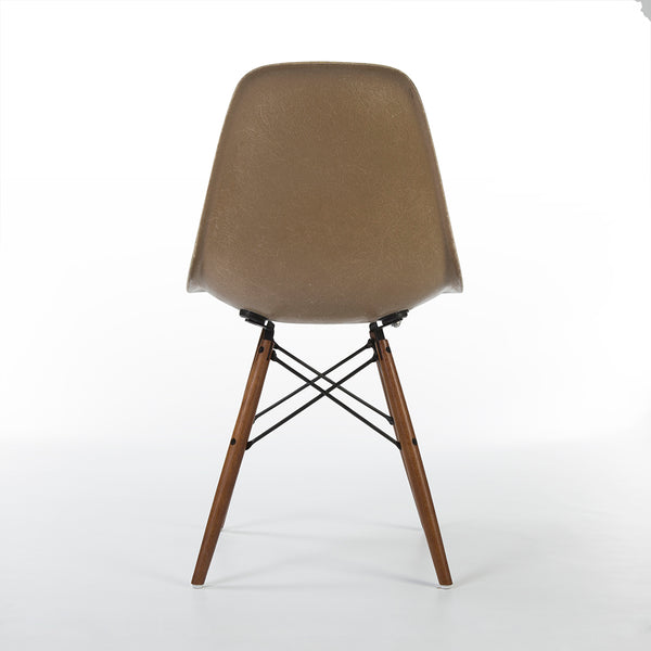 back view of Tan Herman Miller Original Eames DSW Dining Side Shell Chair