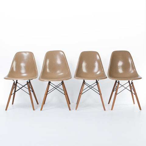 Tan set (4) Herman Miller Original Eames DSW Dining Side Shell Chair