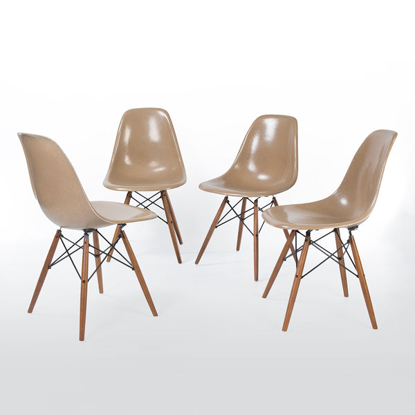 side view of Tan set (4) Herman Miller Original Eames DSW Dining Side Shell Chair