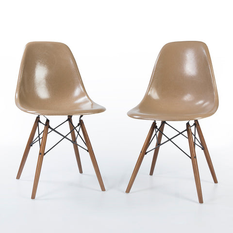Tan Pair Herman Miller Original Eames DSW Dining Side Shell Chair
