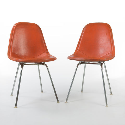 Orange Pair (2) Herman Miller Vintage Original Eames DKX Wire Side Chairs