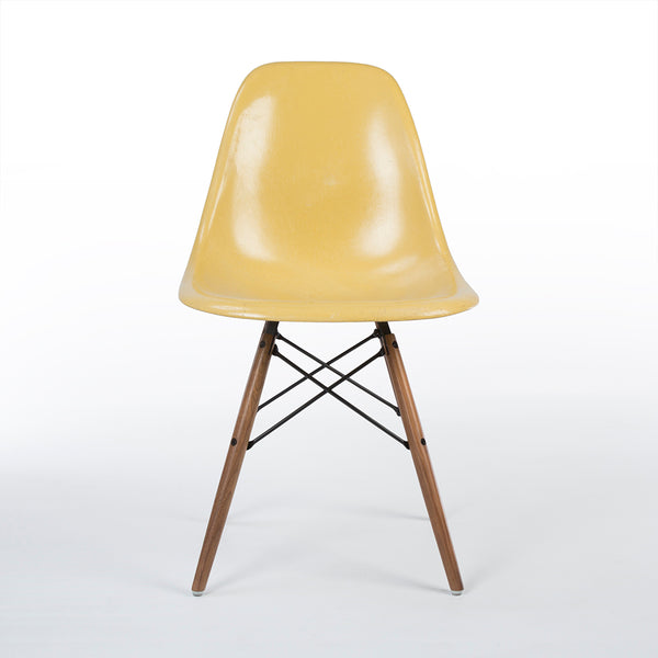 Front view of Ochre Herman Miller Vintage Original Eames DSW Side Shell Chair